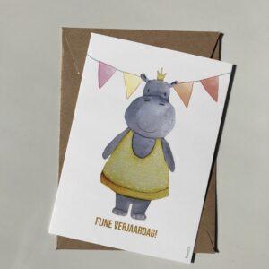 Fijne verjaardag Nijlpaard! (Geel)